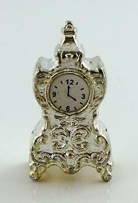 Dolls House Miniature 1:12 Living Room Lounge Accessory Silver Mantle Clock