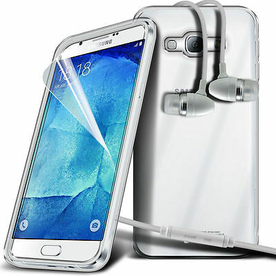 Ultra Thin Clear Gel Skin Case Cover & Handsfree for Samsung Galaxy A8