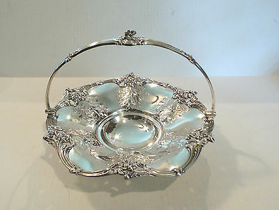 ANTIQUE ENGLISH SILVER PLATE SWING HANDLE CAKE BASKET, c. 1850