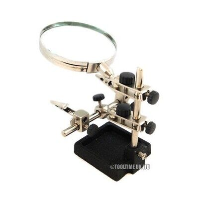 "Helping 3Rd Hand Magnifier 3.5"" Magnifying Glass Jewellery Soldering Clamp Stand"
