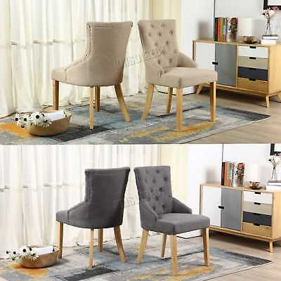 FoxHunter New Linen Fabric Dining Chairs Scoop Button Back Office Lounge DCF03