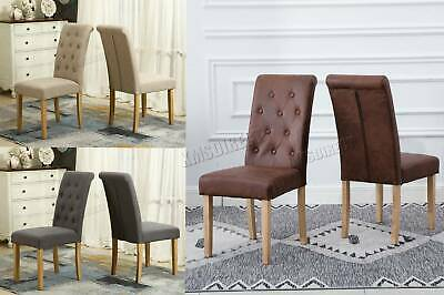 FoxHunter Linen Fabric Dining Chairs Scroll High Back Office Living Room DCF02