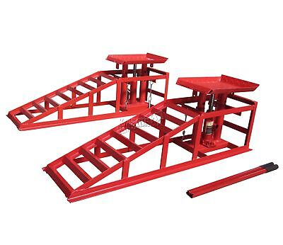FoxHunter Metal Vehicle Car Ramp Lift With 2 Ton Hydraulic Jack 1Pair Garage Red
