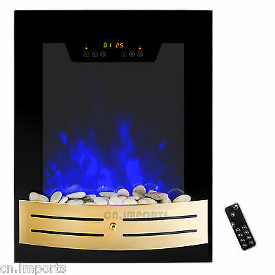 Tempered Glass Electric Fireplace Heat Wall Mount Touch Screen Timer 2 Setting