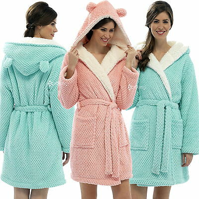 Ladies Sherpa Lined Hooded Dressing Gown w Ears Luxury Housecoat Waffle Design