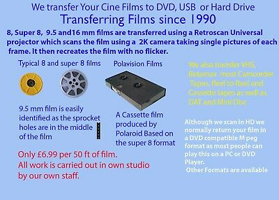 We Transfer CINE FILM TO DVD 8mm Super 8mm and 9.5 mm