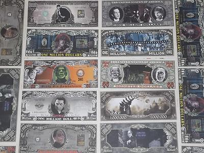 1. Halloween Special 5 Classic Horror Movie U.s. Uncirculated Banknotes!