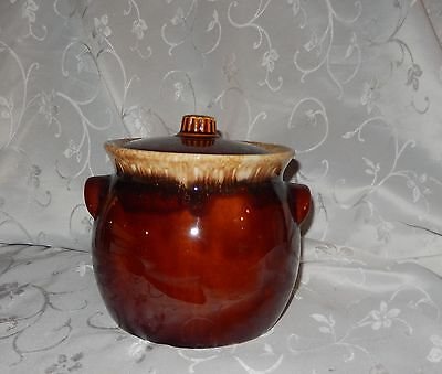 Vintage Brown Drip Oven Proof USA Bean Pot or Cookie Jar