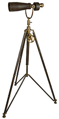 Authentic Models KA039 Monocular on Tripod Stainless Steel, Leather, Brass