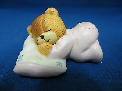 Lucy & Me Sleeping Baby Girl Teddy Bear Pillow Figurine Statue 1985 Enesco Rigg