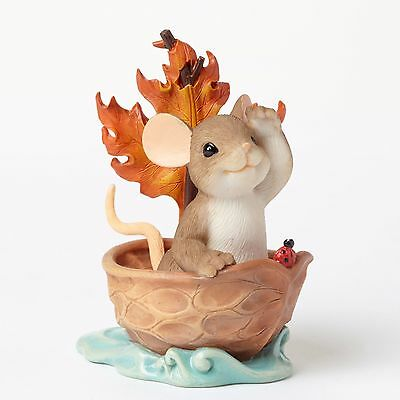 New CHARMING TAILS Mouse Figurine AUTUMN MAPLE LEAF Mice Statue OCEAN SAIL BOAT