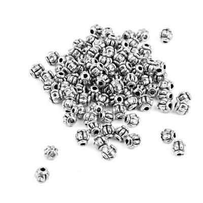 100± Antique Silver Alloy Pumpkin Bicone Spacer Beads Charms DIY Jewelry 4mm