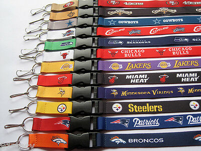1x NFL Football or NBA Basketball Teams Lanyards ID Card Badge Holder Keychain