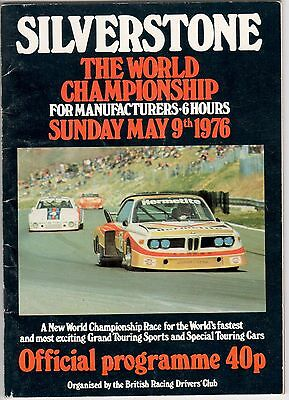 SILVERSTONE THE WORLD CHAMPIONSHIP SUNDAY MAY 8th/9th 1976 PROGRAMME.
