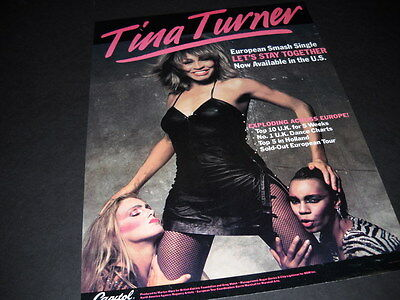 TINA TURNER getting cozy with the gals 1984 PROMO POSTER AD mint condition