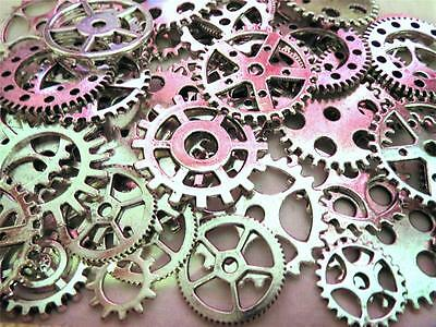 """40g 1"""" to 3/8"""" New Gears VARIETY SILVER Steampunk Watch Parts Clock Wheels =26+-"""