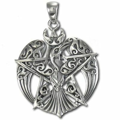Raven Crescent Moon Silver Pentacle Pagan Jewelry w/chain Dryad Design #TPD878