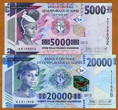 SET Guinea, 5000;20000 francs, 2015, Pick New, UNC   Redesigned