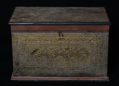 19th Century, Mandalay, Antique Burmese Wooden Chest with Angels Design