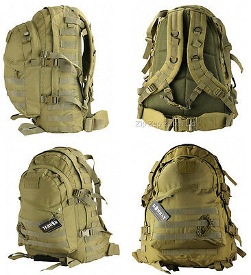 Army Combat Military Special Ops Molle Rucksack Backpack Day Pack Bag 45L Desert