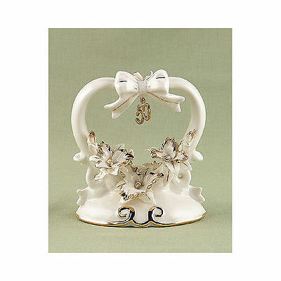 50th Wedding Anniversary Cake Toppers Heart Shaped Porcelain Gold Cake Topper