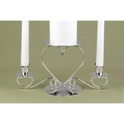 Triple Heart Silver Wedding Unity Candle Stands Candle Holders Taper Holder