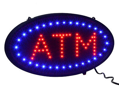 Ultra Bright LED Neon Light Oval ATM Sign w/ Motion Animation ON/OFF Switch New