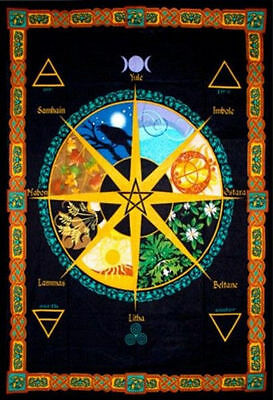 Pagan Wheel of the Year Tapestry Banner Wall Calendar Flag Wall Decor #57470