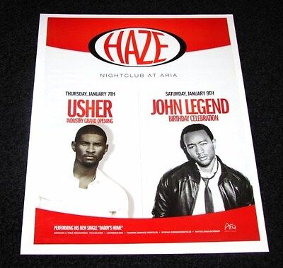 Usher & John Legend Live in Concert R&B Music 15x12 Matted Vegas Event Promo NEW