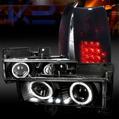 88-98 Chevy C/K Pickup Black Halo Projector Headlights+Red Smoke LED Tail Lamps
