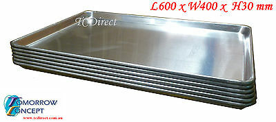 6x Aluminium 600x400 H3cm Oven Baking Tray / Pan for Bakers Gastronorm Trolley