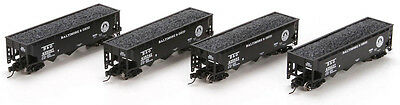 Athearn N Scale 40' 3-Bay Offset Hopper/Load Baltimore & Ohio/B&O 4-Pack #1