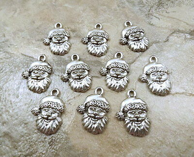 Set of 10 Pewter Santa Face Charms - 5310