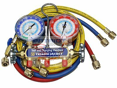 """YELLOW JACKET 42205 Manifold 3-1/8"""" Gauges 60"""" HOSES psi, R22/134a/404A, °F"""