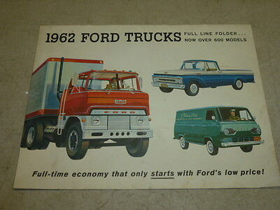 1962 FORD TRUCKS, FULL LINE, DEALER ISSUED SALES BROCHURE CATALOG, 12 Pages