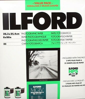 184655 Ilford Student Pack - 25 Sheets Pearl 8X10 Mgiv Rc Paper & 2 Rolls Of Hp5