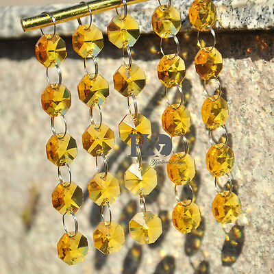 5 Strings Yellow 14MM octagon crystal beads Chain chandelier lamp prism ornament