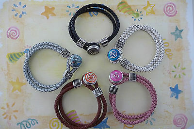 Noosa Style 19cm Girls Braided Leather Bracelet for Snap On Chunk Button Charms
