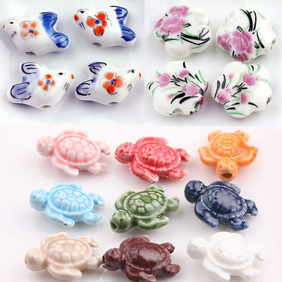Lots Of 5/10Pcs Flower Goldfish White Ceramic Loose Beads Colorful Tortoise Bead