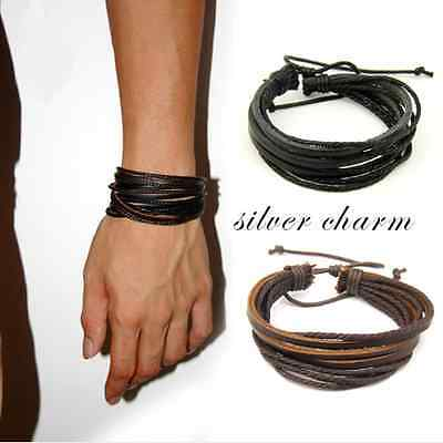 New Leather Wrap Braided Wristband Cuff Punk Men Women Hot Bracelet Bangle