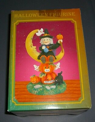 Happy Halloween Witch Moon Cat Statue Figure Figurine Decor Decoration New Nip