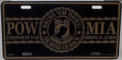 Aluminum Military License Plate POW MIA NEW Bring /'em Home or Send us Back gold
