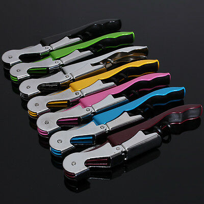 Soft Velvet Touch Waiters Double Hinge Wine Corkscrew Key Bottle Cutter Opener