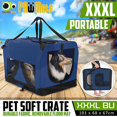 Pet Dog Soft Crate Portable Carrier Travel Cage Tent Kennel Folding XXXL BU