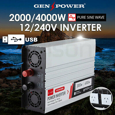 GENPOWER 2000W/4000W Pure Sine Wave 12V/240V Power Inverter CarPlug Caravan Boat