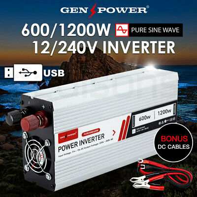 New! Pure Sine Wave Power Inverter 600W/1200W Max 12V-240V Camping Boat Sinewave