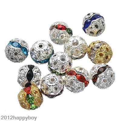 20/50PCS Mixed Crystal Silver Plated Hollow Out Ball Shape Loose Beads 8/10mm