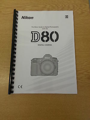 Nikon D80 Digital Camera Fully Printed Instruction Manual Guide 162 Pages A5