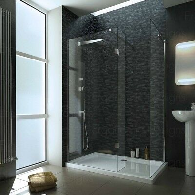 1700 x 800mm Walk In 8mm Screen Wet room Shower Enclosure With Tray and Waste