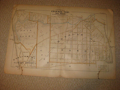 Antique 1889 Upper & Darby Township Borough Clifton Heights Pennsylvania Map Nr